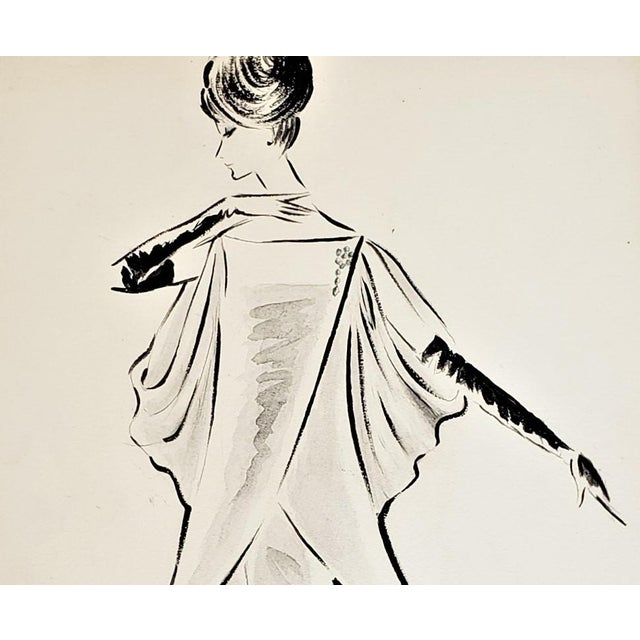RARE showstopper! Elegant and sophisticated styling. This is an original 1960's fashion drawing for an evening gown...