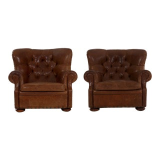 Ralph Lauren Chestnut Leather Wingback Chairs - a Pair For Sale