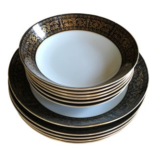 Set of Black and Gold Rimmed Mimosa Fine China of Japan Soup Bowls For Sale