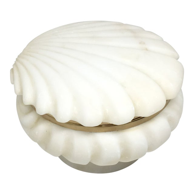 Alabaster and Brass Shell Lidded Box For Sale