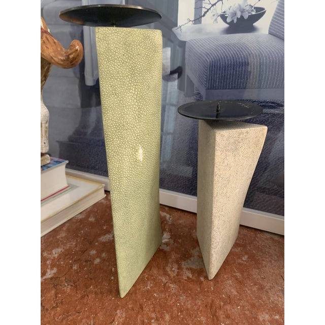 Shagreen Candlesticks - R & Y Agousti - a Pair For Sale - Image 9 of 10