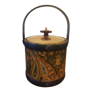 Vintage Linen Wrapped Brass Ice Bucket