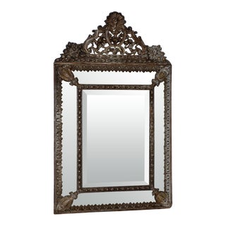 19th Century French Pressed Copper Framed Mirror For Sale