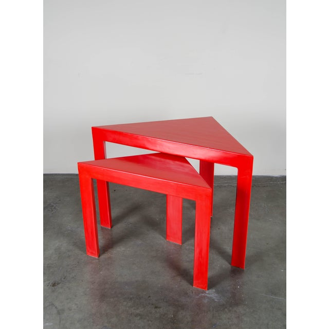 "Set of Red Lacquer Corner Nesting Tables Large: 34""W x 22""D x 26""D x 24""H Small: 25 1/2""W x 16""D x 20""D x 21""H"