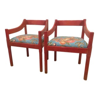 1960s Vintage Red Carimate Chairs by Vico Magistretti for Cassina- A Pair For Sale