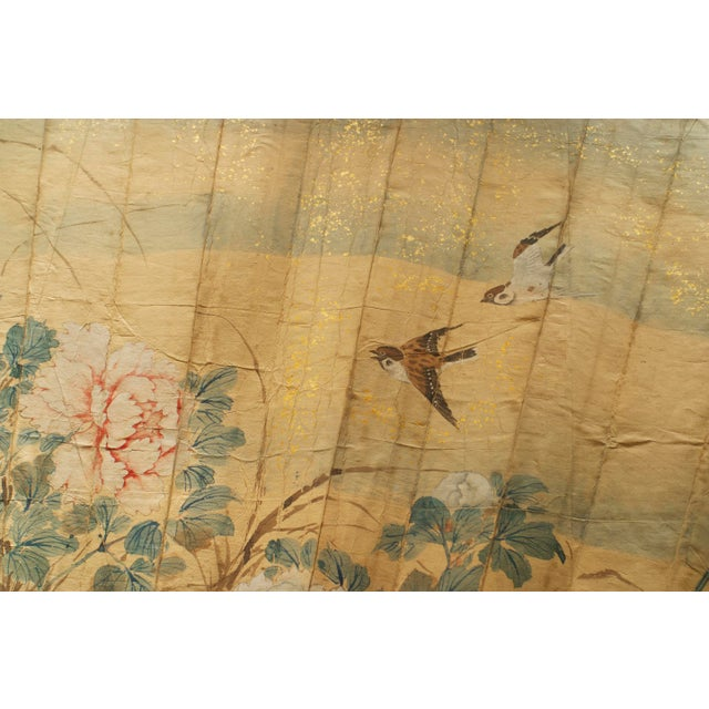 Asian Japanese (c.1870) monumental Exhibition quality folding fan (floor screen) with chinoiserie decorated lacquered base...