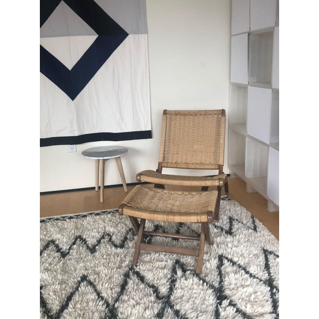 Mid-century, Scandinavian/Danish-modern designed rope chair and ottoman modeled after Hans Wegner's JH 512 chair for...