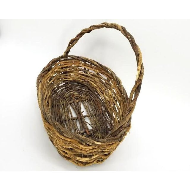 Wood Vintage Rustic Willow Woven Branch Twig Basket For Sale - Image 7 of 9