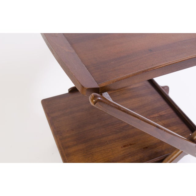 Danish Folding Walnut Bar Cart With Serving Tray - Image 6 of 11