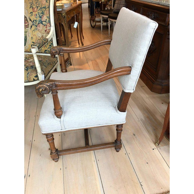 Handsome Carved Walnut and Linen Armchair For Sale - Image 4 of 10