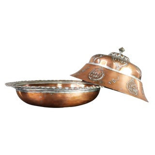 Antique Turkish Ottoman Copper Lidded Bowl Hand Forged Hand Chiseled and Tinned For Sale