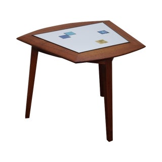 Samson Berman Teak Trapezoidal Tile Top Side Table For Sale