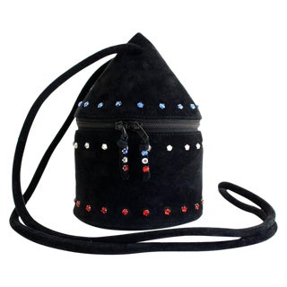 1980s Maud Frizon Sculptural Black Suede Jeweled Evening Shoulder Bag For Sale