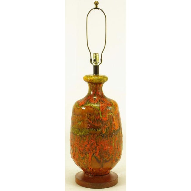 Mid-Century Modern Lava Red Drip Glaze Hand Thrown Ceramic Body Table Lamp For Sale - Image 3 of 6