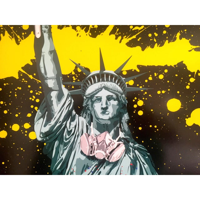 "Black Mr. Brainwash "" Statue of Liberty "" Authentic Lithograph Print Pop Art Poster For Sale - Image 8 of 12"