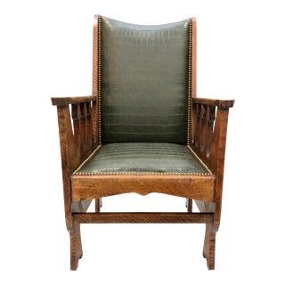 Antique Arts & Crafts Mission Oak Armchair For Sale