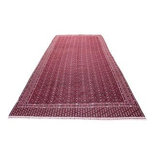Turkoman Yamut Red and Dark Green Tone Flat Weave Kilim Rug - 6′10″ × 13′8″ For Sale