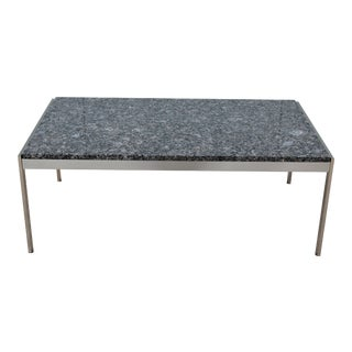 Geiger Mid-Century Modern Metal Series Rectangular Brown Granite Top Occasional Table For Sale