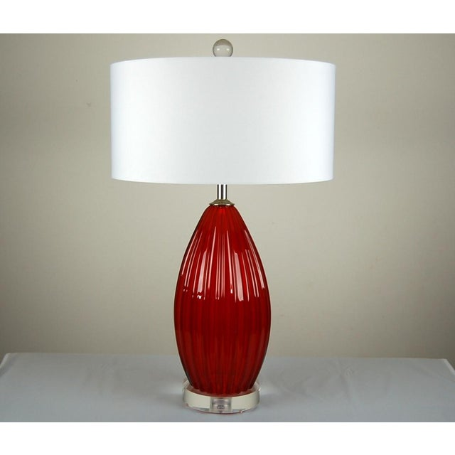Hollywood Regency Vintage Murano Glass Table Lamps Scarlet Red For Sale - Image 3 of 9