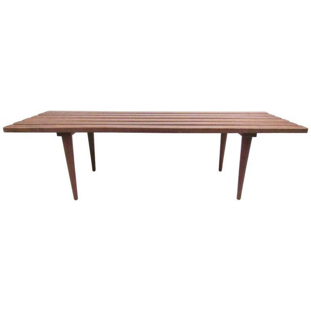 Mid-Century Modern Slat Bench Coffee Table For Sale - Image 11 of 11