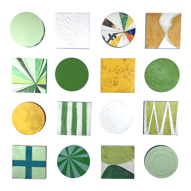 """Encaustic Collage Installation by Gina Cochran """"Grasshopper"""" - 16 Pieces For Sale"""