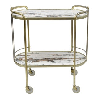 Vintage Mid Century Modern Brass Rolling Bar Tea Cart Table Laminate Faux Marble Top