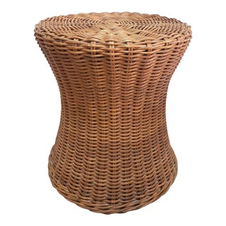 Vintage Woven Wicker Rattan Side Acent Table For Sale