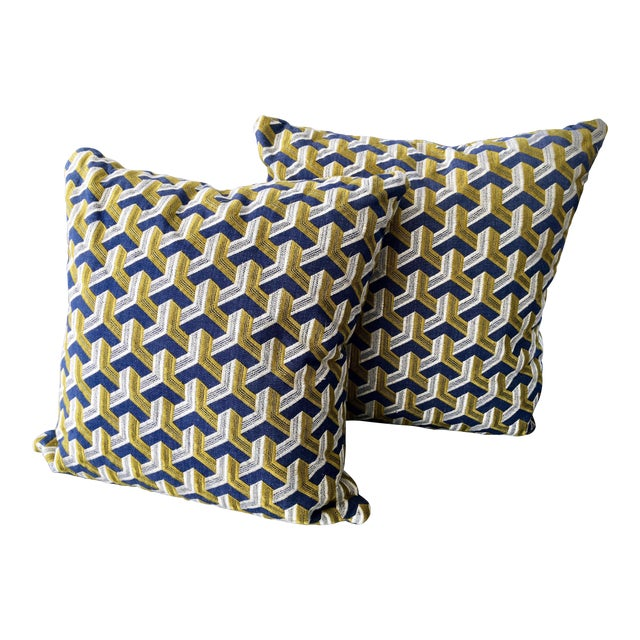 Kravet Embroidered Denim Pillows - A Pair - Image 1 of 5