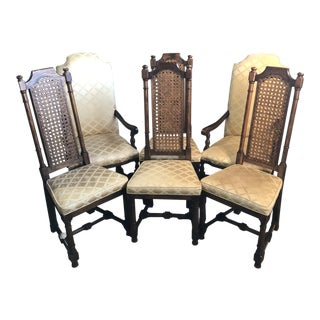 1960s Vintage Jacobean Style Dining Chairs- Set of 6 For Sale