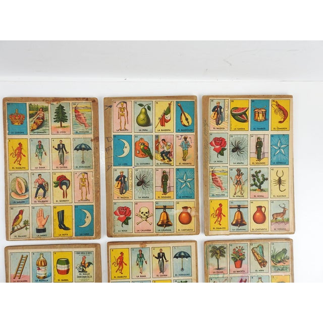 Collection of 6 loteria or bingo cards from Mexico. I have listed several sets of these, each with different sets of...