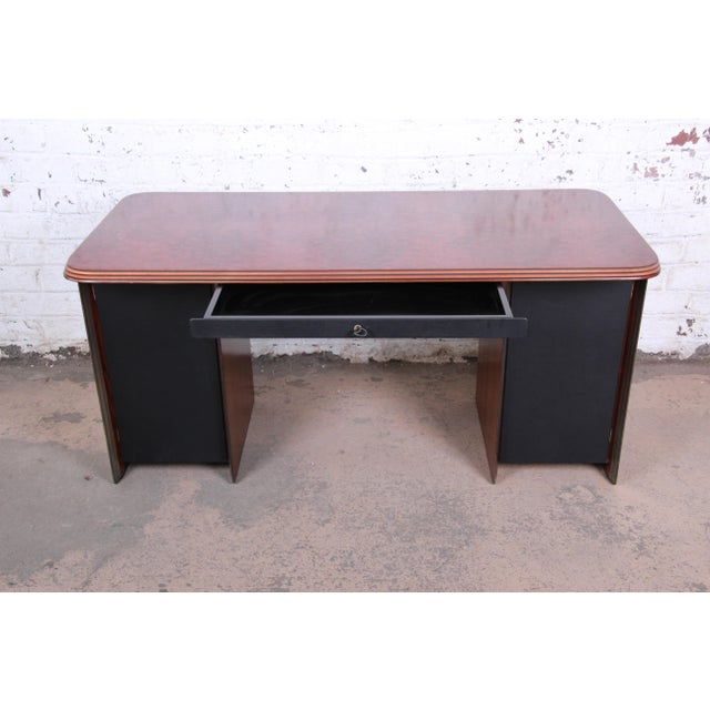 Afra and Tobia Scarpa for B&B Italia Rosewood, Burl and Leather Desk, 1970s For Sale - Image 9 of 13
