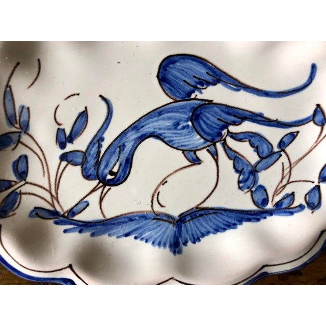 Vintage blue and white Moustiers faience trinket dish.