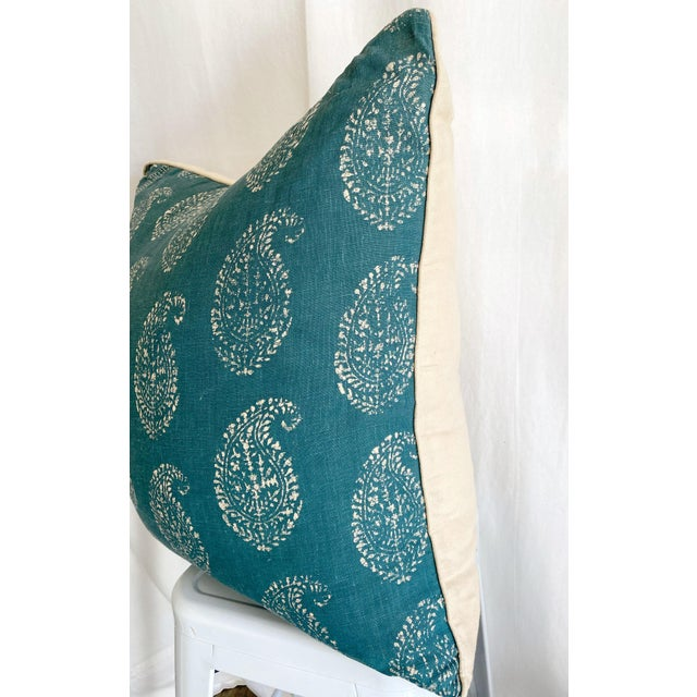 Custom pillow with Peter Dunham front panels (Kashmir Paisley - Tea/Peacock) and natural linen back. Fabric description:...