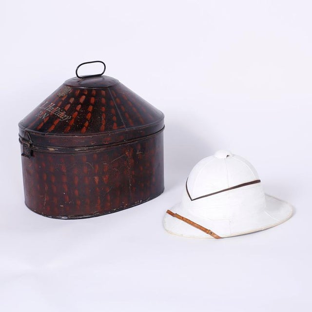 Antique Pith Helmet in Tole Box For Sale - Image 9 of 9