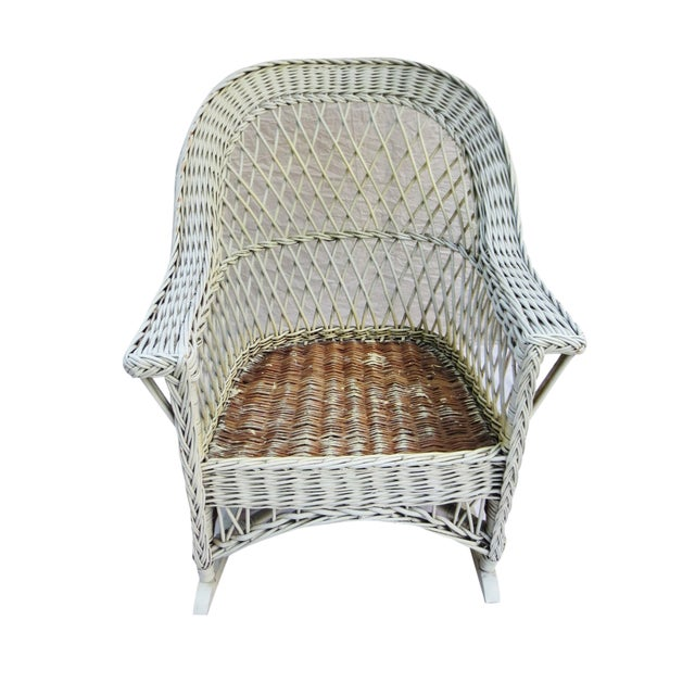 White Wicker Rocker - Image 2 of 6