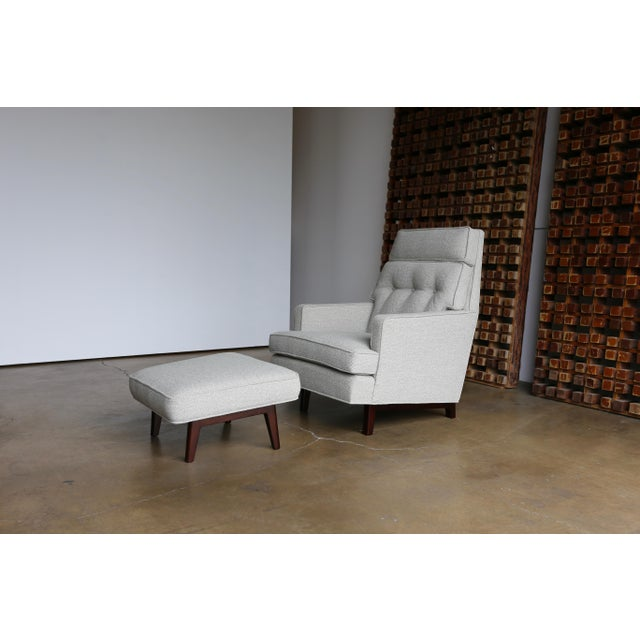 Mid 20th Century Edward Wormley for Dunbar Lounge Chair and Ottoman - a Pair For Sale - Image 11 of 12