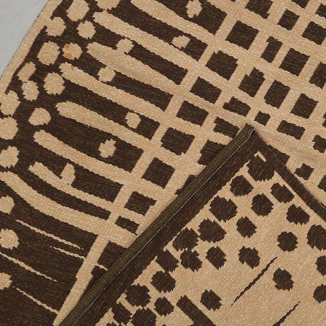 """Vintage Double Sided Swedish Rollakan Carpet - 4'1"""" X 6'3"""" - Image 7 of 7"""