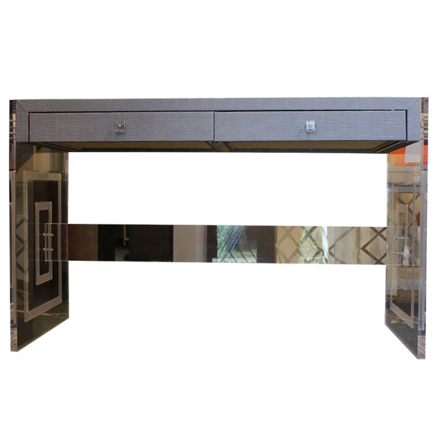 Meredith Engraved Panel Writing Desk For Sale