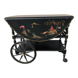 Late 20th Century Vintage Chinoiserie Drop Leaf Tea Cart For Sale