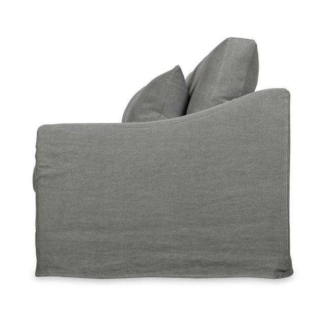 Transitional Moss Home Abram Sofa Stonewashed Linen Zinc For Sale - Image 3 of 7