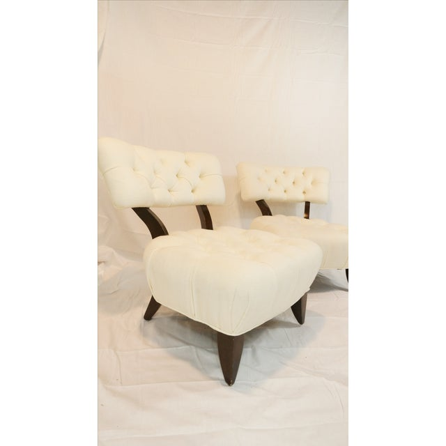 Billy Haines Style Tufted Lounge Chairs - A Pair - Image 6 of 7