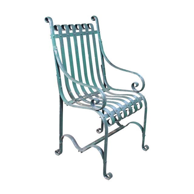 Vintage Green Iron Garden Chair - Image 2 of 4