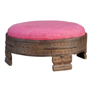 Rosada Carved Grinder Table Ottoman With Tribal Fabric Upholstery For Sale