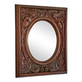 19c American Dark Walnut Wall Mirror With Mermaids - Important