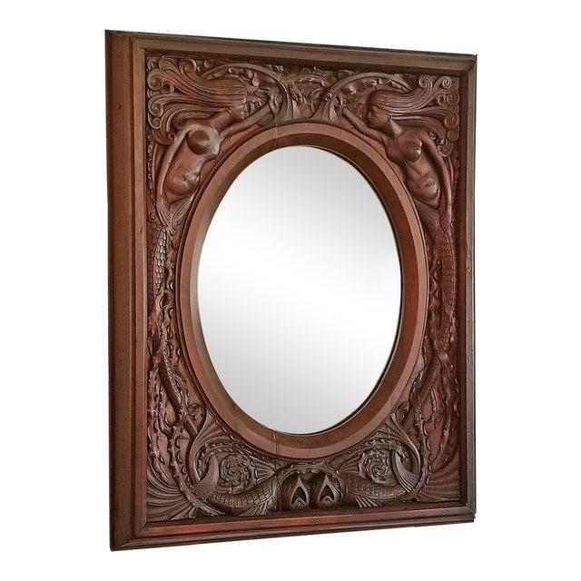 19c American Dark Walnut Wall Mirror With Mermaids - Important For Sale
