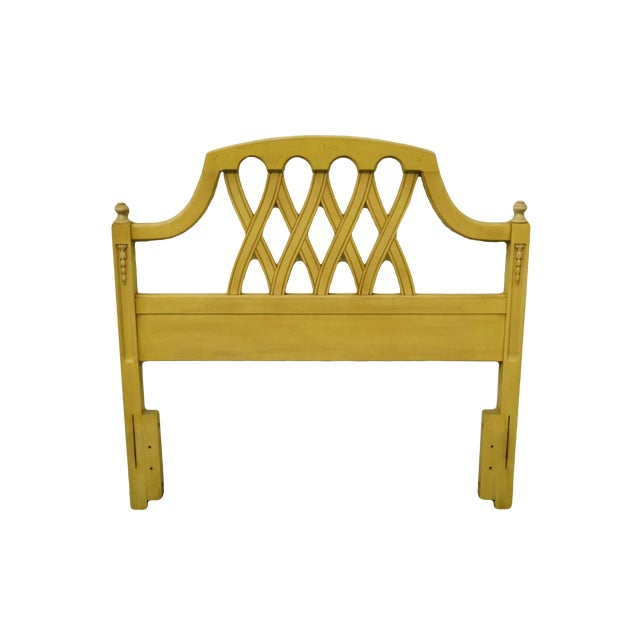 20th Century French Provincial Stanley Furniture Cream/Yellow Painted Twin Size Headboard For Sale