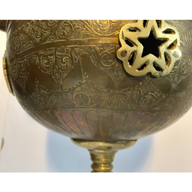 Moroccan Antique Brass Tea Kettle Pot on Stand For Sale - Image 4 of 12
