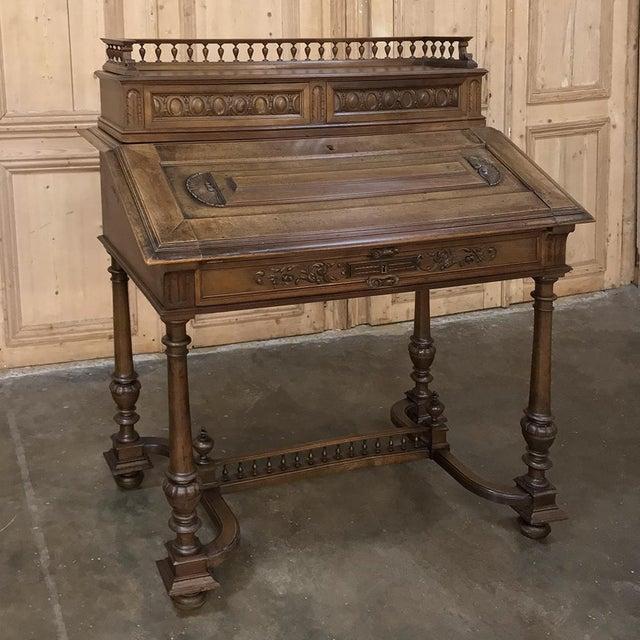 19th Century French Henri II Walnut Secretary For Sale - Image 11 of 11