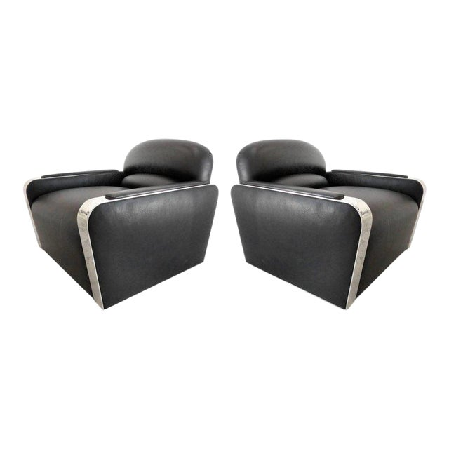 Pair of Art Deco Style Stainless and Leather Club Chairs attributed to Brueton For Sale