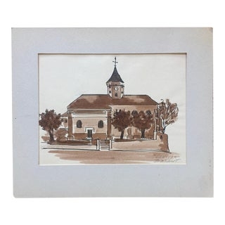 1950s Nemours French Original Sepia Ink Drawing-Signed For Sale